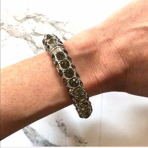 Jewelry - Sterling Silver clasp bracelet with grey gemstones